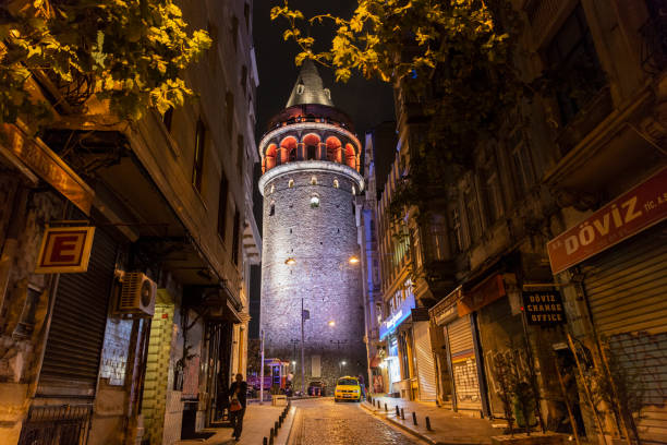 galata tower in istanbul beyoglu - каракёй стамбул стоковые фото и изображения