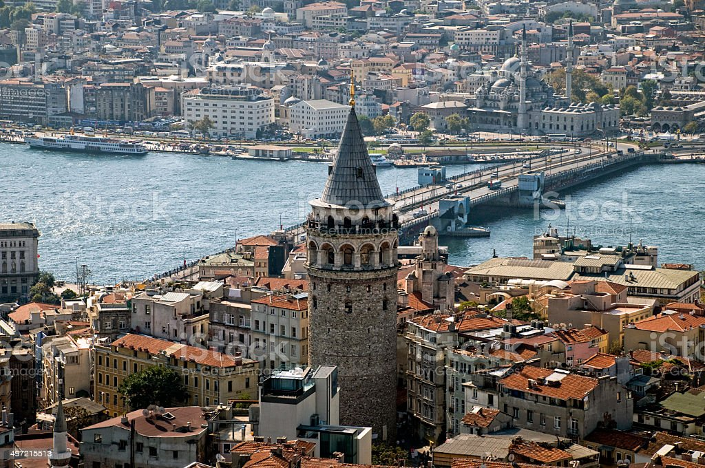 Galata Tower in Istanbul stock photo