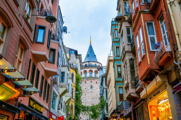Galata tower in Istanbul, Turkey. stock photo