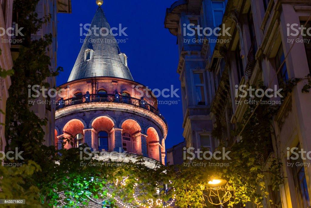 Galata Tower, Night Seen stock photo