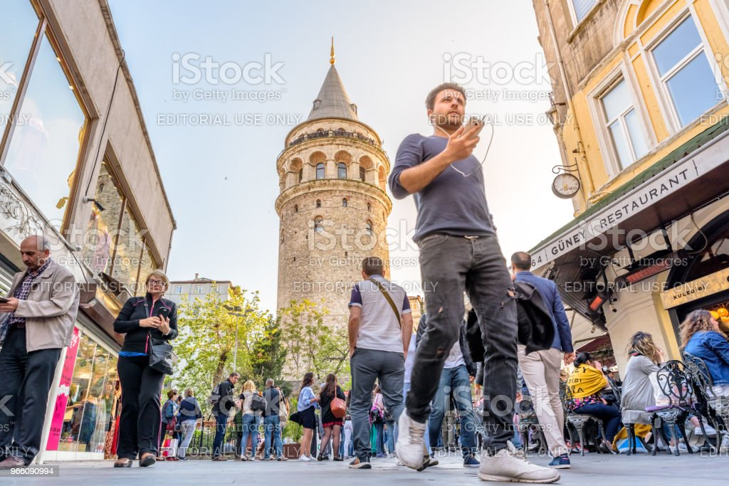 Galata Tower,a medieval stone tower in Istanbul,Turkey - Стоковые фото Архитектура роялти-фри