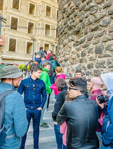 Galata Tower Een Middeleeuwse Steen Toren In Istanboel Turkije Stockfoto en meer beelden van Beroemde plaats