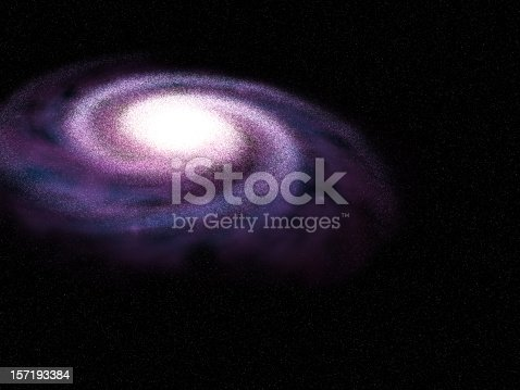 Illustration of a spiral galaxy on a star field background