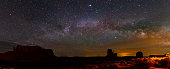 A panorama of galaxy above the Monument Valley, Arizona, US
