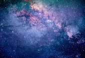 Colorful Milky way galaxy with stars and space dust in the universe