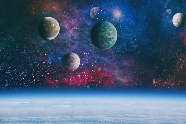 Galaksi ve Gezegen - NASA tarafından döşenmiş bu Görüntünün Elemanları stok fotoğrafı