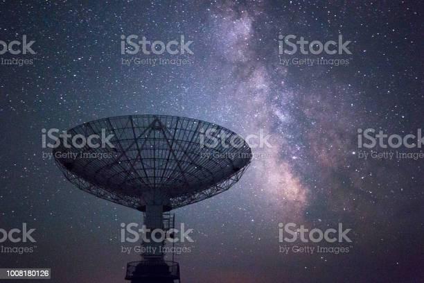 Photo of Galaxy and radio telescope