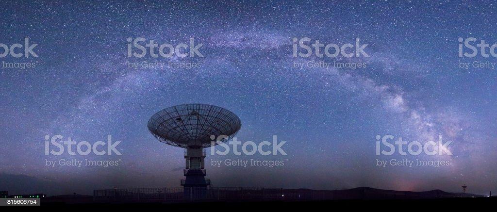 Galaxy and radio telescope stock photo
