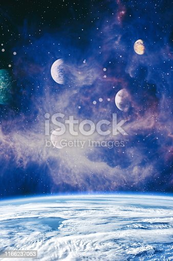 istock Galaxy creative background. Starfield stardust and nebula space. background with nebula, stardust and bright shining stars. Elements of this image furnished by NASA. 1166237053