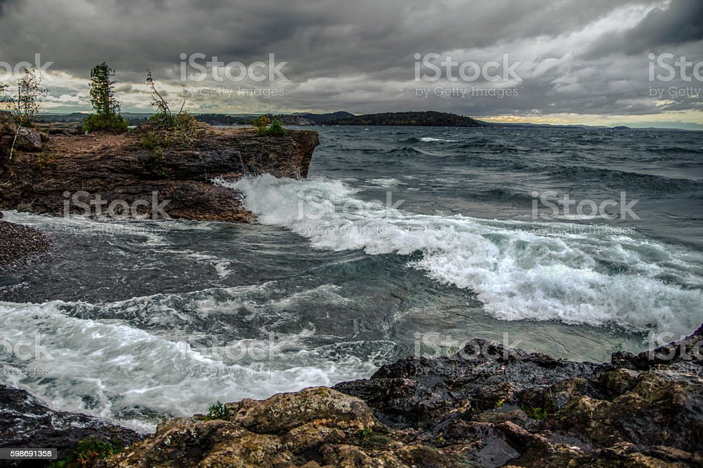 Gale On The Inland Sea Of Lake Superior stock photo