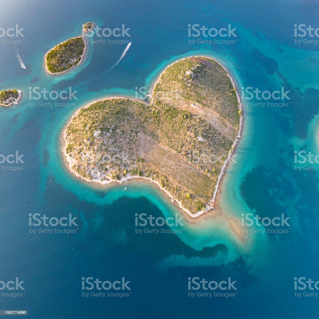 Galešnjak, Heart Love Island, Croatia stock photo