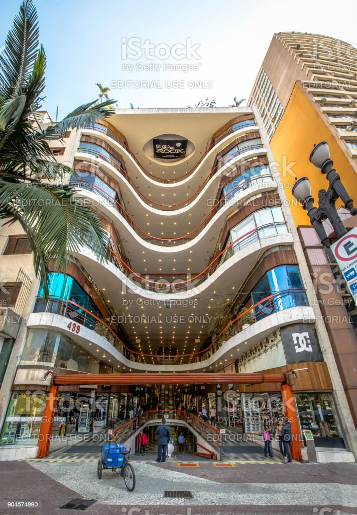Galeria do Rock (Rock Gallery) Shopping Mall Facade in Dowtown Sao Paulo - Sao Paulo, Brazil stock photo