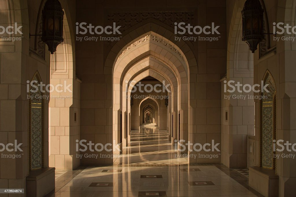 Galery in the Grand Mosque of Muscat, Oman stock photo