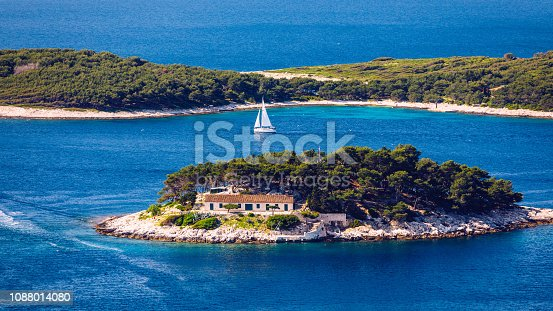 istock Galesnik island is the first in a row of all Pakleni islands. From this little island there is the most beautiful view at the town of Hvar. 1088014080