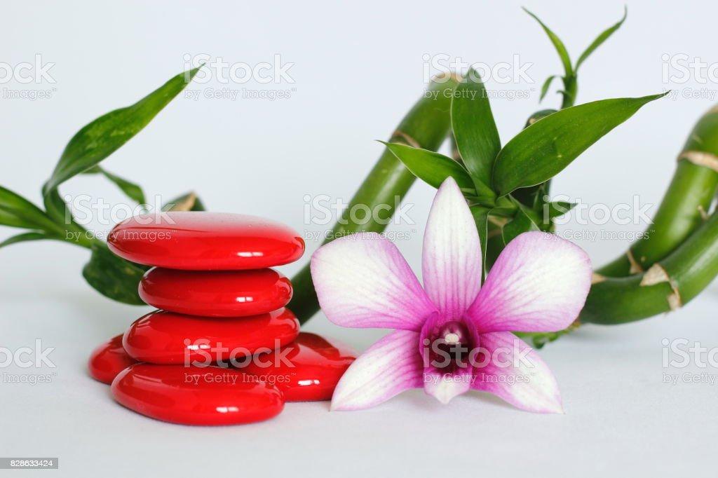 galets rouge disposés en mode de vie zen avec une orchidée sur le coté droit des bambou torsadé le tout sur fond blanc stock photo