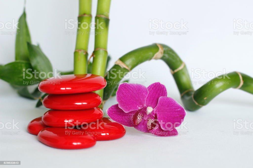 galets rouge disposés en mode de vie zen avec une orchidées rose foncé sur le coté droit des bambou droit et torsadé le tout sur fond blanc stock photo