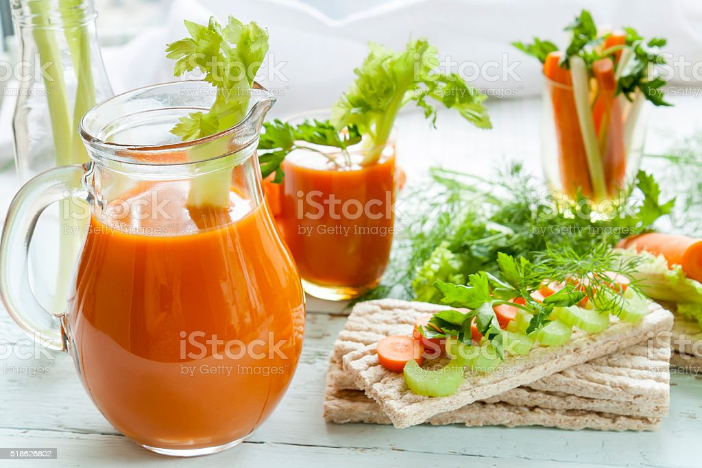 Galette rye with fresh carrots, celery and parsley stock photo