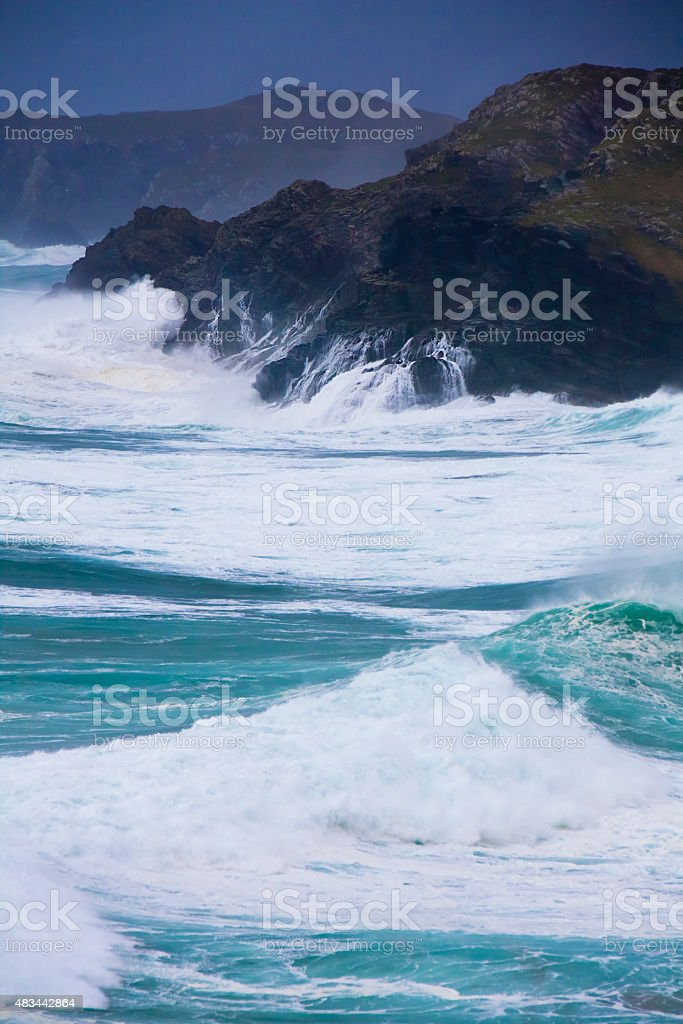 Galicia coastline during a storm. stock photo