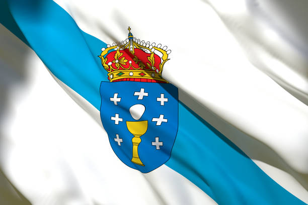 Galicia Community flag 3d rendering of a Galicia Spanish Community flag galicia stock pictures, royalty-free photos & images