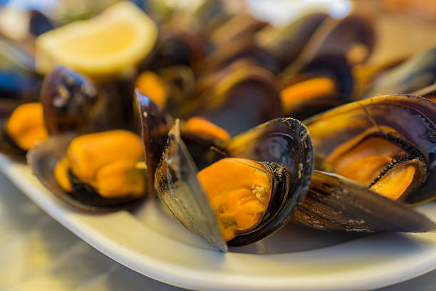 Galician mussels. Detail of Galician mussels. mollusk stock pictures, royalty-free photos & images