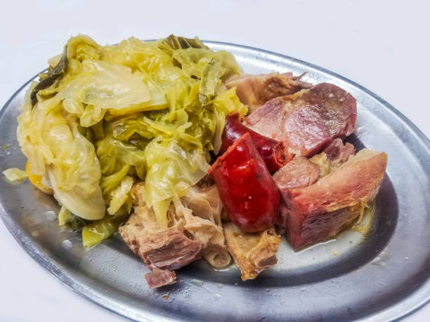 Galician stew with meat and cabbage stock photo