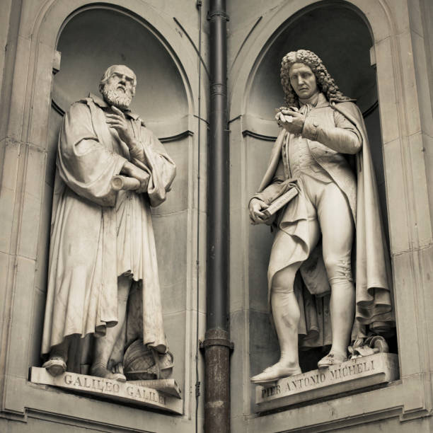 Galileo and Antonio Micheli Statues in Florence, Italy. Galileo and Antonio Micheli Statues in Florence, Italy. galileo galilei stock pictures, royalty-free photos & images