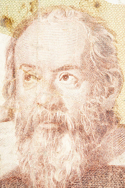 Galileo Galilei on Banknote Portrait of Galileo Galilei on an old banknote. galileo galilei stock pictures, royalty-free photos & images