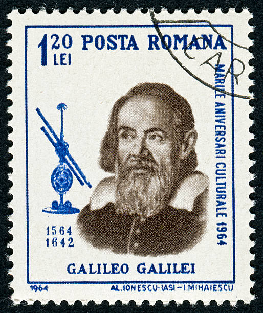Galileo Galilei Stamp Cancelled Stamp From Romania Featuring Galileo Galilei galileo galilei stock pictures, royalty-free photos & images