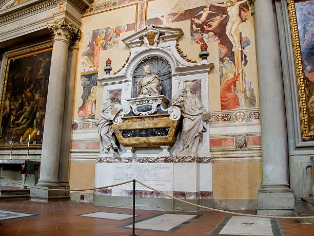 Galileo Galilei's Tomb at Basilica of Santa Croce. Florence, Italy The tomb of Galileo Galilei at Basilica of Santa Croce. Florence, Italy galileo galilei stock pictures, royalty-free photos & images