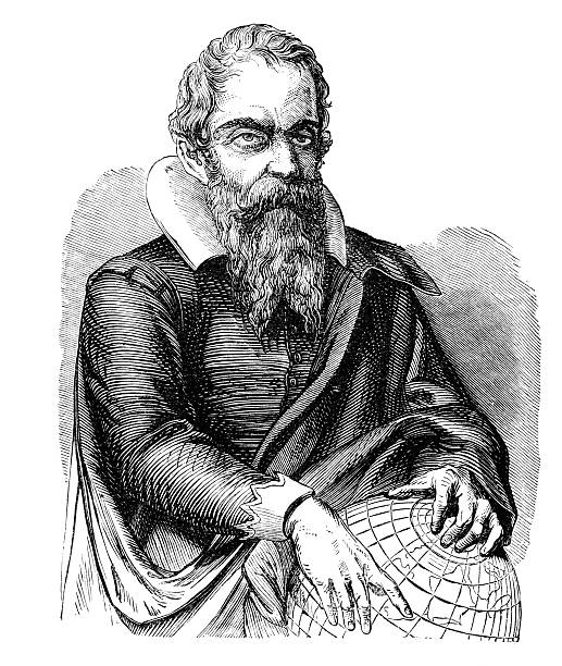 Galileo An engraved vintage portrait illustration image of Galileo from a Victorian book dated 1877 that is no longer in copyright galileo galilei stock pictures, royalty-free photos & images