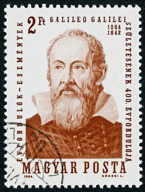 Galileo Stamp Cancelled Stamp From Hungary Featuring The Scientist Galileo Galilei galileo galilei stock pictures, royalty-free photos & images