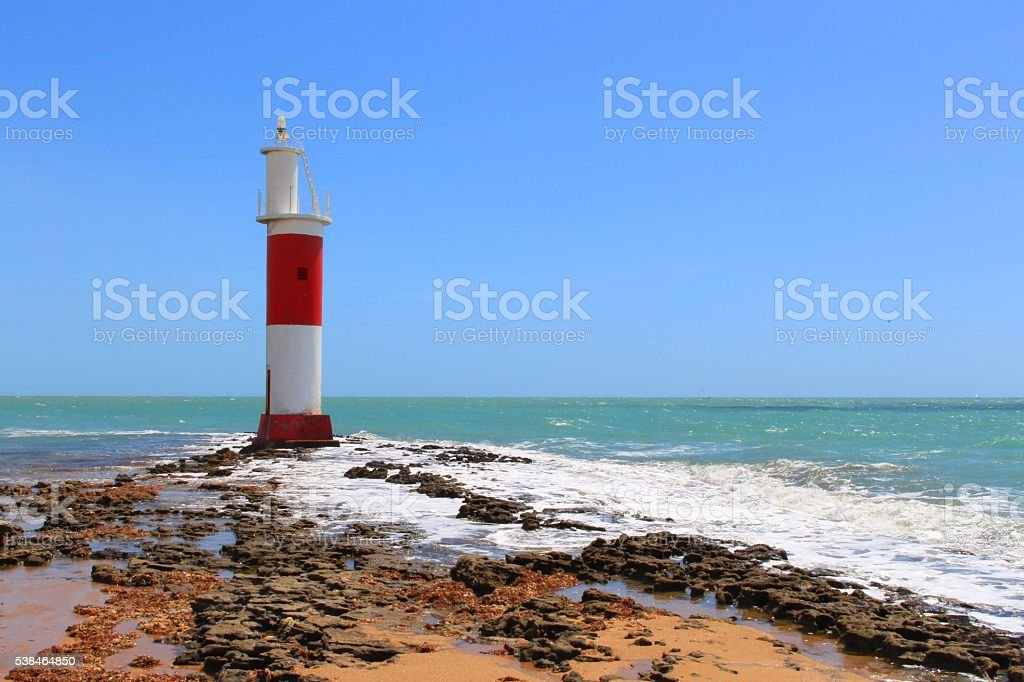 Galinhos Lighthouse, tranquility and unique scenery, Galinhos - RN, Brazil. stock photo
