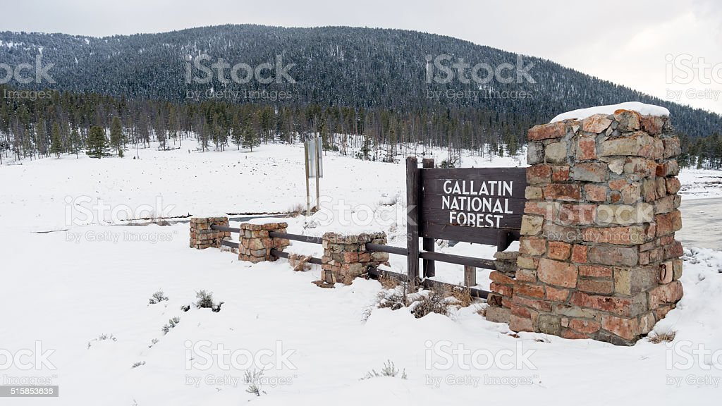 Gallatin National Forest Wyoming Entry Sign Territory United States stock photo