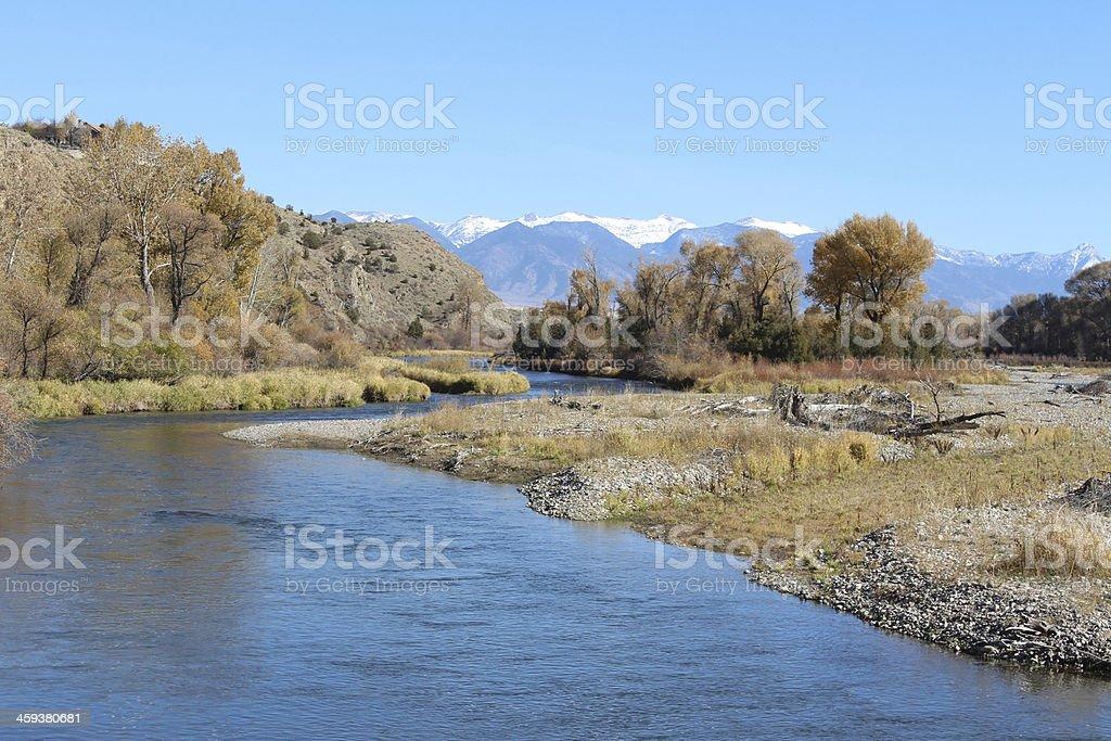 Gallatin River and Bridger Mountains stock photo