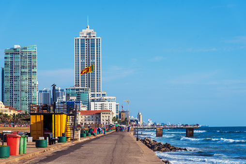 Galle Face Green Beach And Waterfront Park In Colombo Sri Lanka Stock Photo - Download Image Now