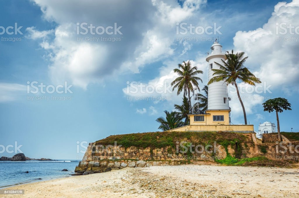 Galle, SRI LANKA. Light House At Galle Dutch Fort 17th Centurys Ruined Dutch Castle That Is Unesco Listed As A World Heritage Site stock photo