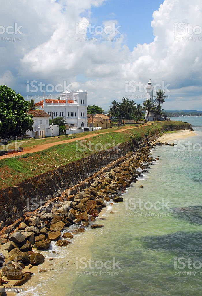 Galle, Sri Lanka: ramparts, sea, mosque and lighthouse royalty-free stock photo