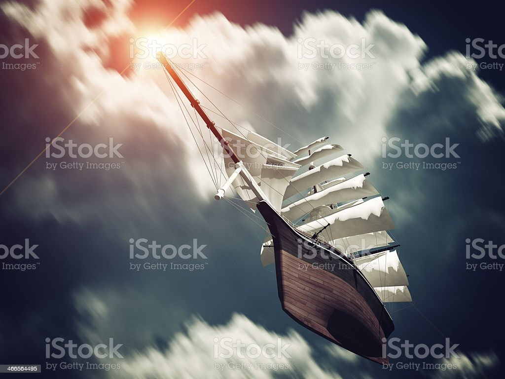 Galleon floating on Clouds stock photo