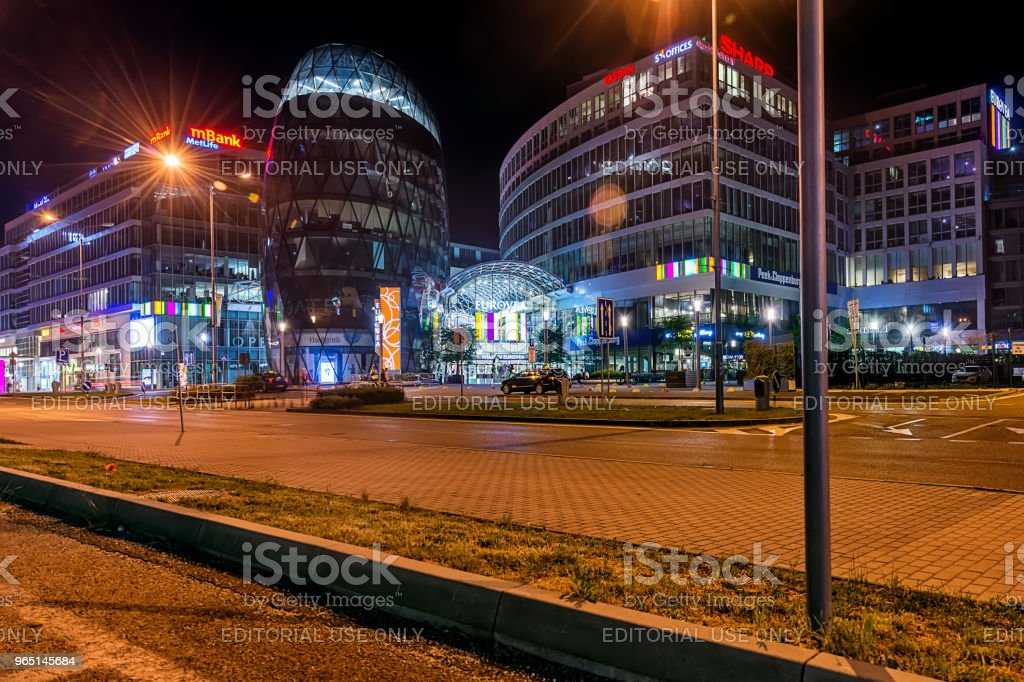 Galleria Eurovea shopping centre at night. royalty-free stock photo