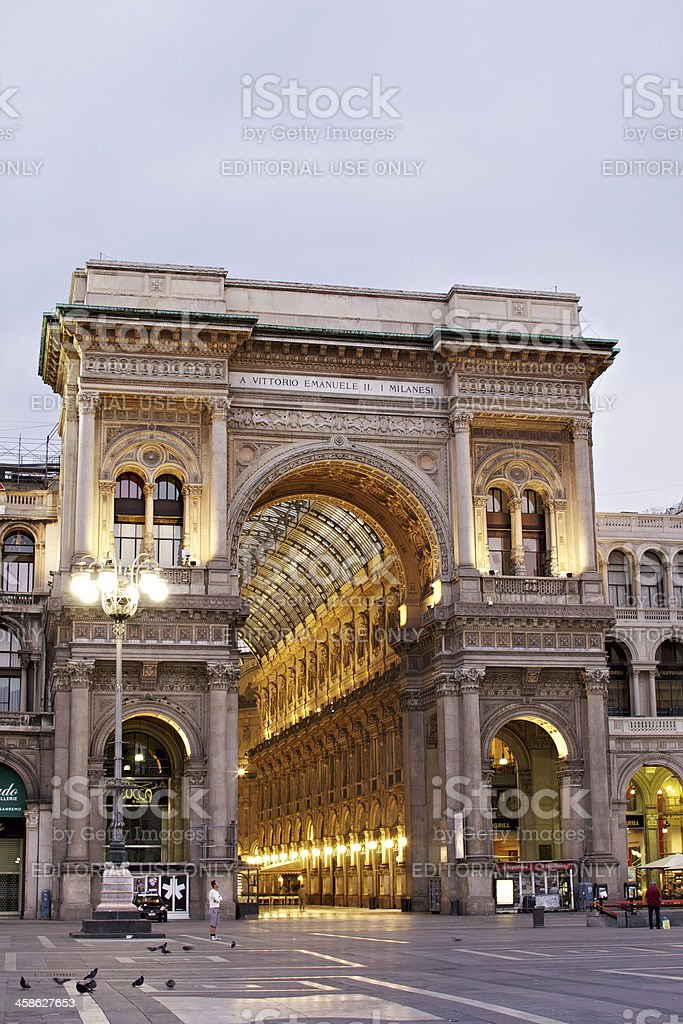 Galleria Vittorio Emanuele II at dawn. Milan. Italy. royalty-free stock photo