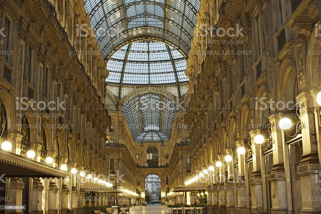 Galleria Vittorio Emanuele II at dawn. Milan. Italy. stock photo