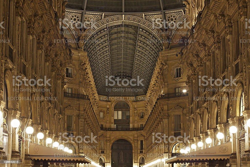 Galleria Vittorio Emanuele II by night. Milan. Italy. stock photo