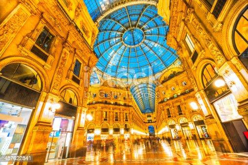 istock Galleria Vittorio Emanuele II Dome Detail at Night, Milan Italy 487622841