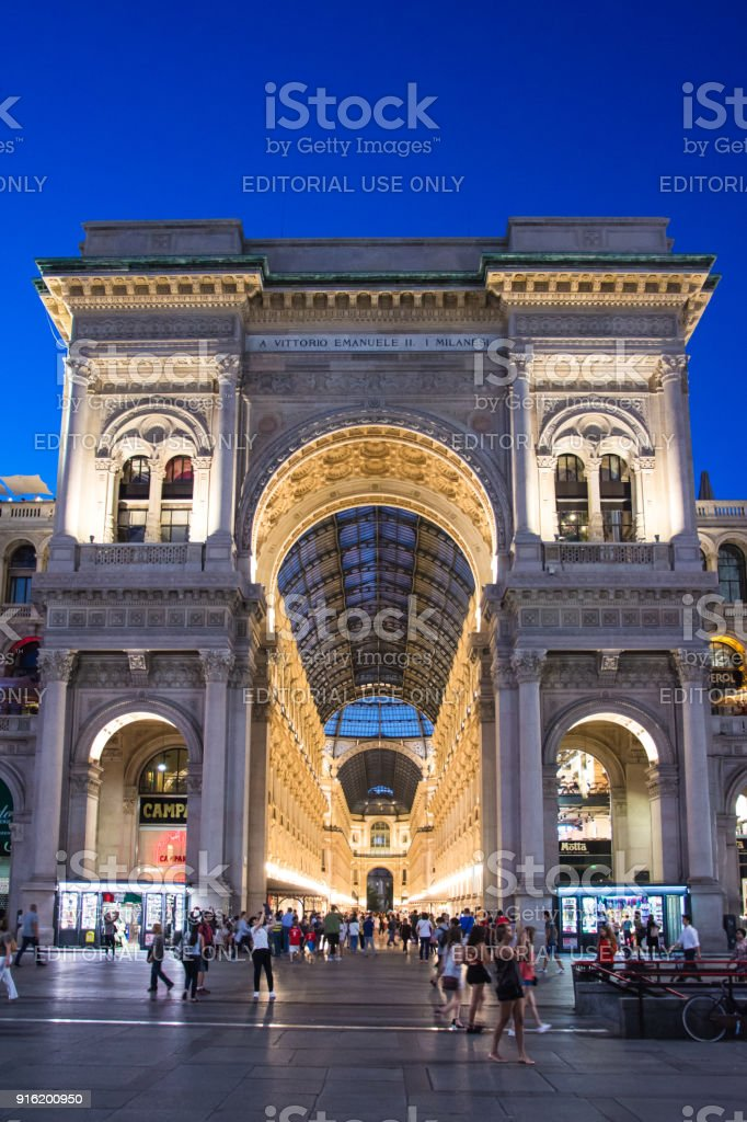 Galleria Vittorio Emanuele II in Milano. It's one of the world's oldest shopping malls, designed and built by Giuseppe Mengoni between 1865 and 1877. stock photo