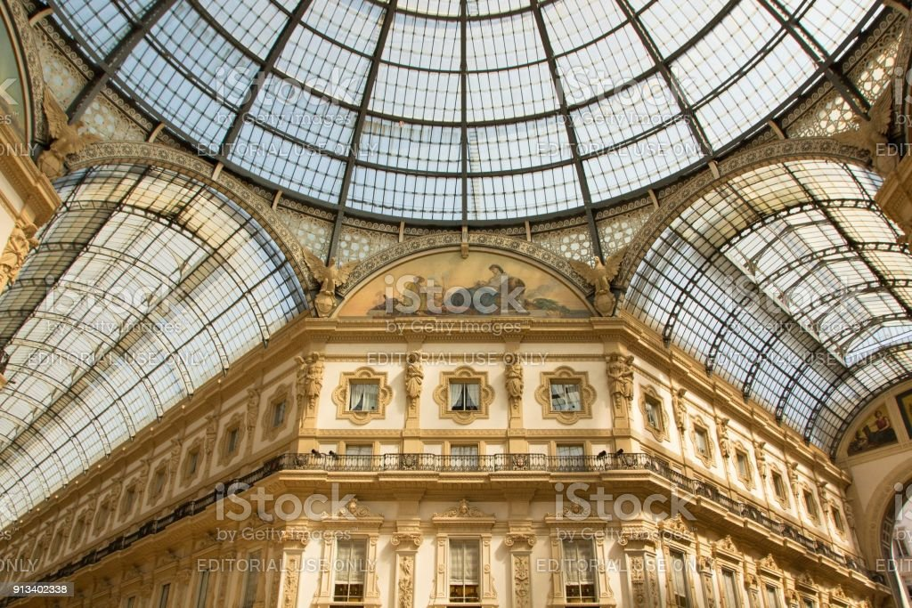 Galleria Vittorio Emanuele II is one of the most popular shopping areas in Milan. stock photo