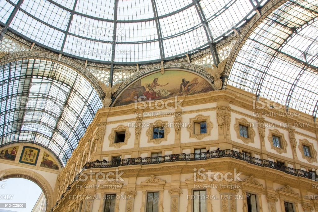 Galleria Vittorio Emanuele II is one of the most popular shopping areas in Milan. Italy. stock photo