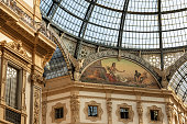 Detail of the Galleria Vittorio Emanuele II (1867), famous shopping center with glass dome in downtown of Milan, Lombardy, Italy