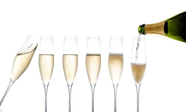 Gallerie champagne flutes stock photo