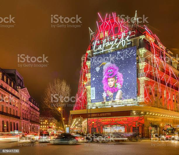 Galleries Lafayette In A Winter Night In Paris Stock Photo - Download Image Now
