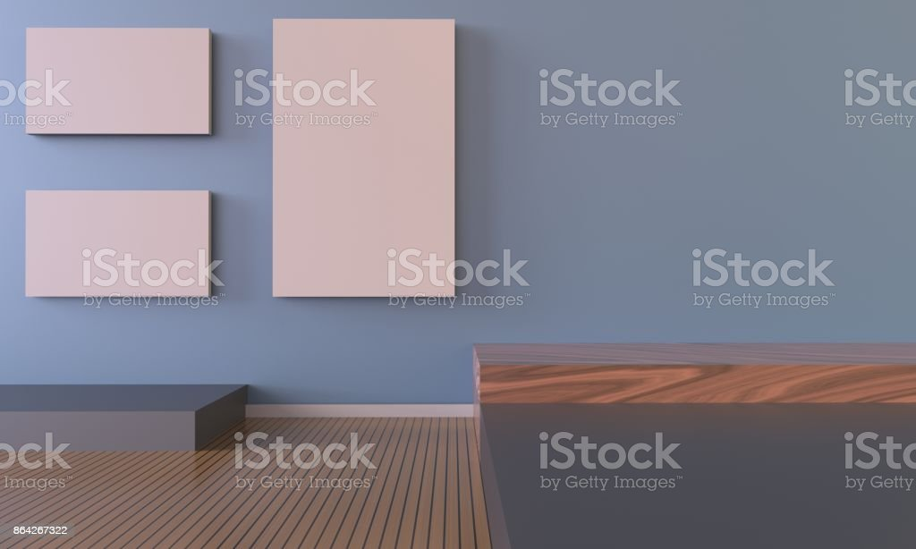 Gallery and living Room Contemporary Art and picture frame on Blue stock photo